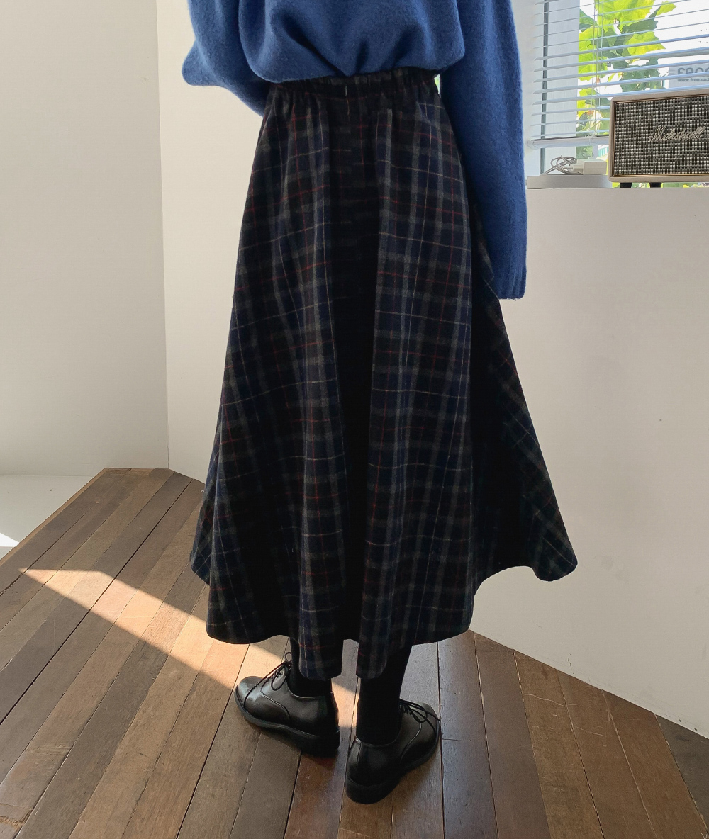 Vintage Check Flared Long Skirt
