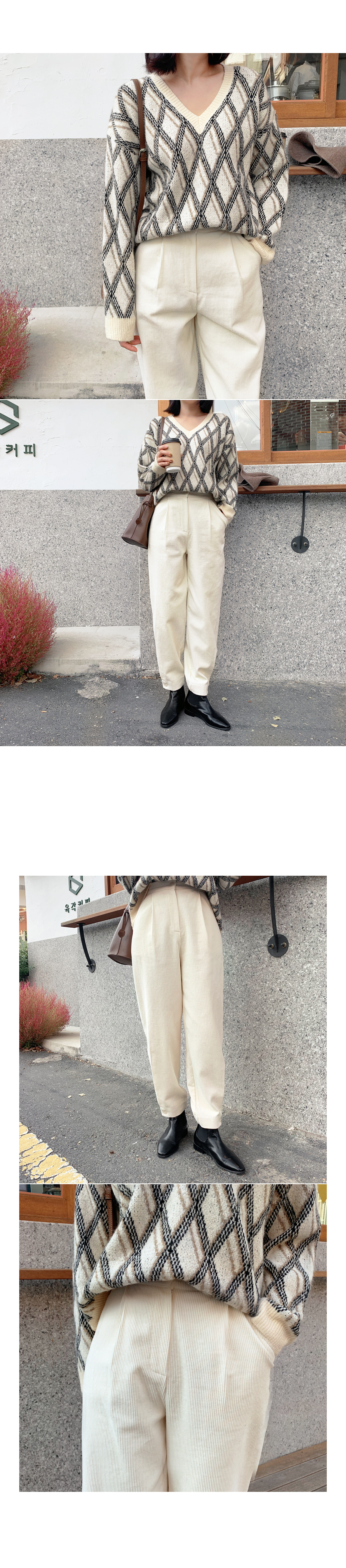 Button corduroy pants