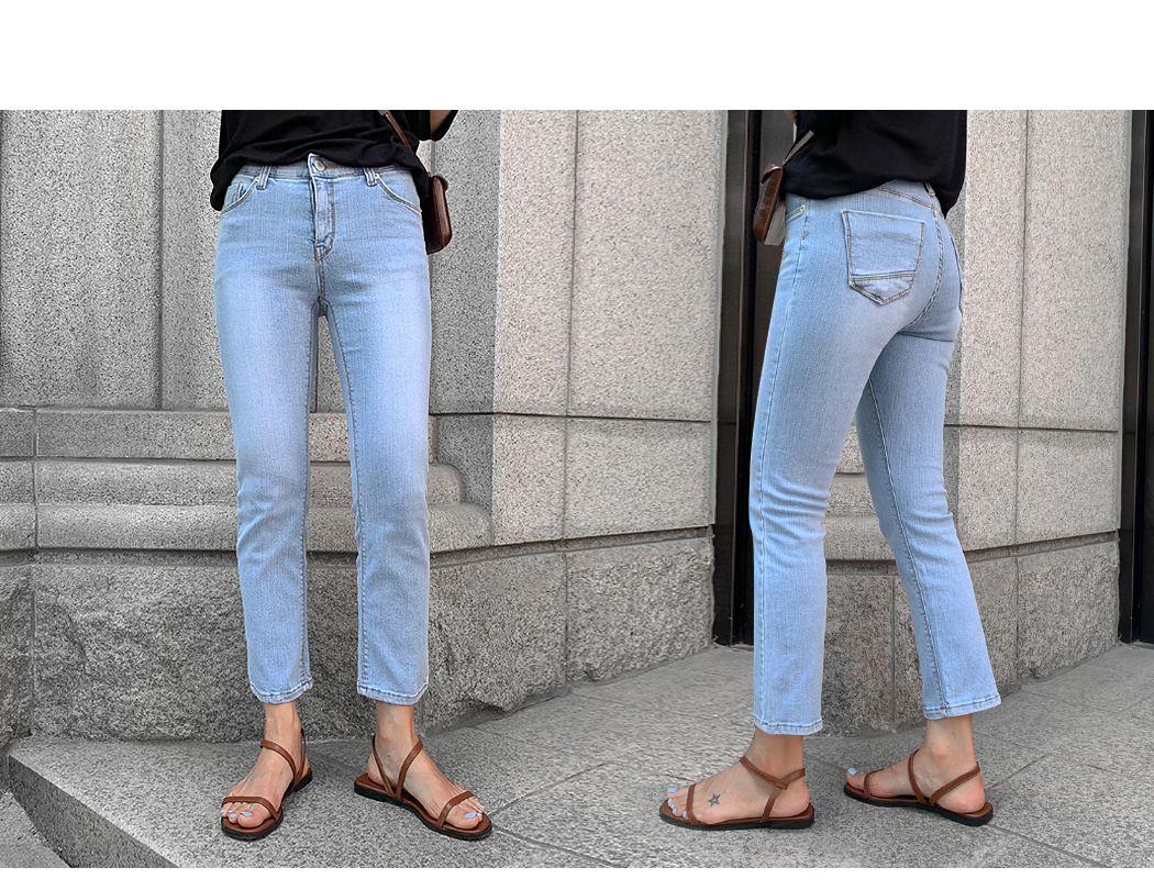 160cm Snow Washing 8.5 pieces Cropped pants