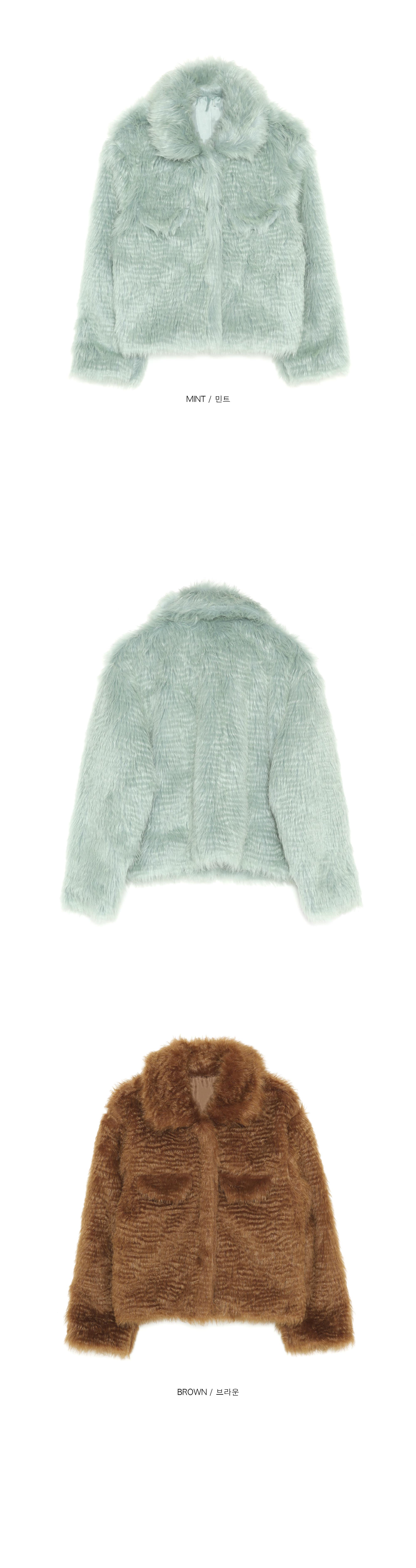 wave collar fur jacket - woman