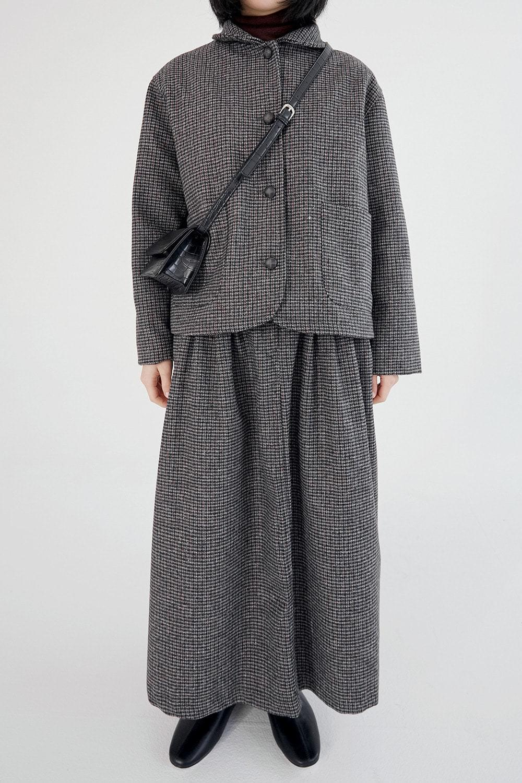 shepherd check wool jacket (black)