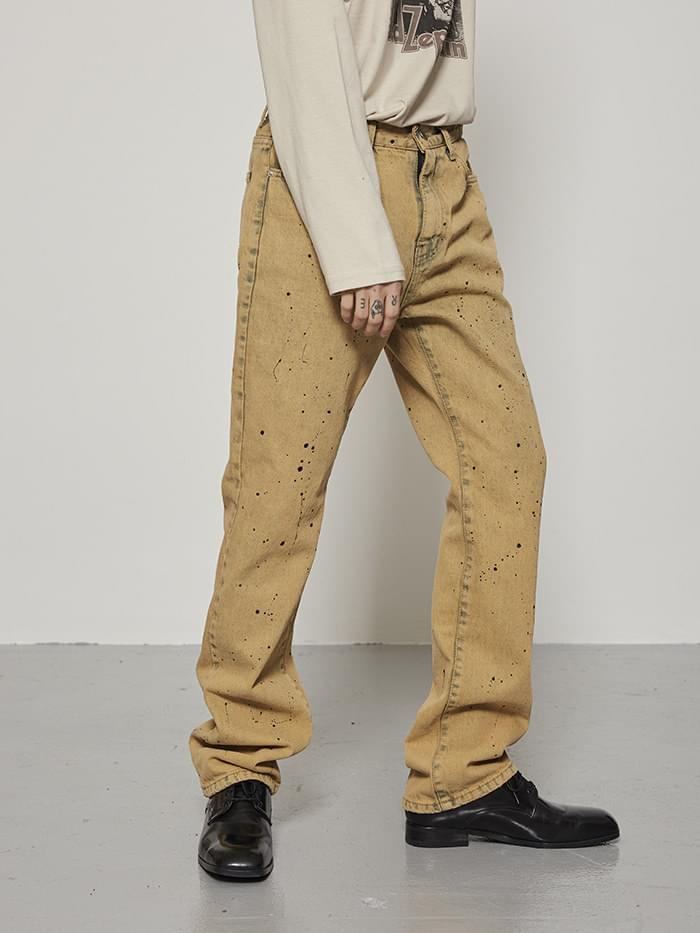 washed straight painting pants - men