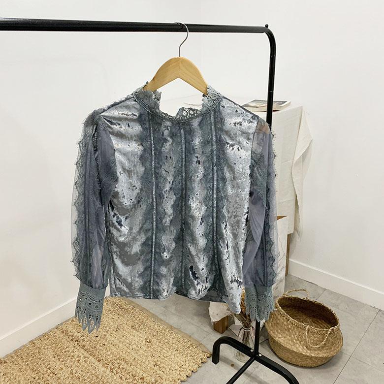 Ella velvet ruffle lace blouse