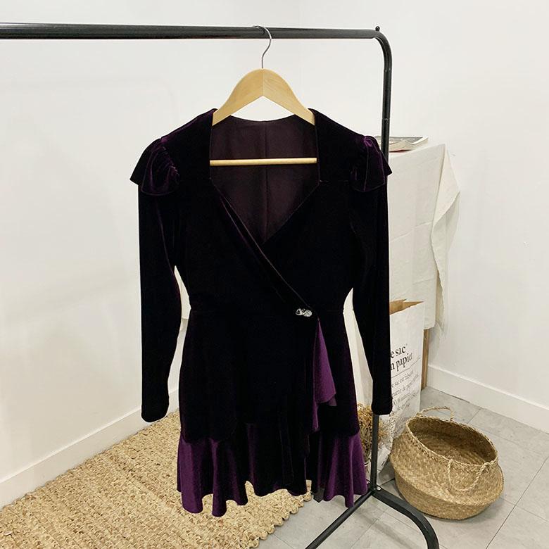 Cellui Velvet Wrap Mini Dress
