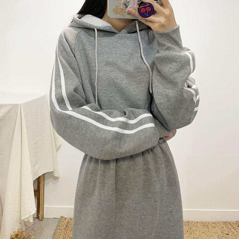 Hariah brushed hooded long dress