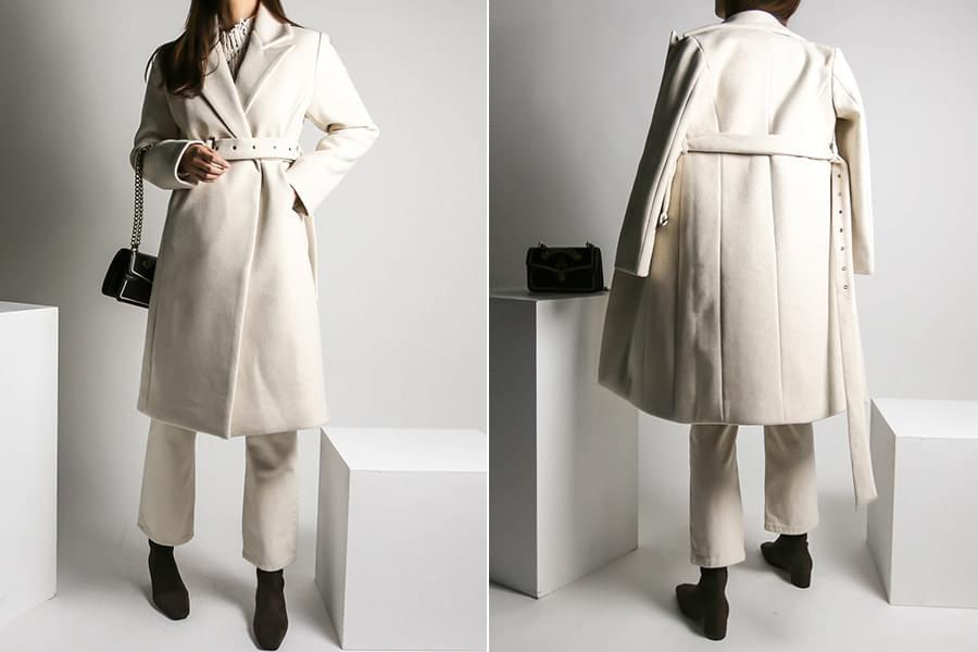 Eyelet belt wool long coat _ct03470