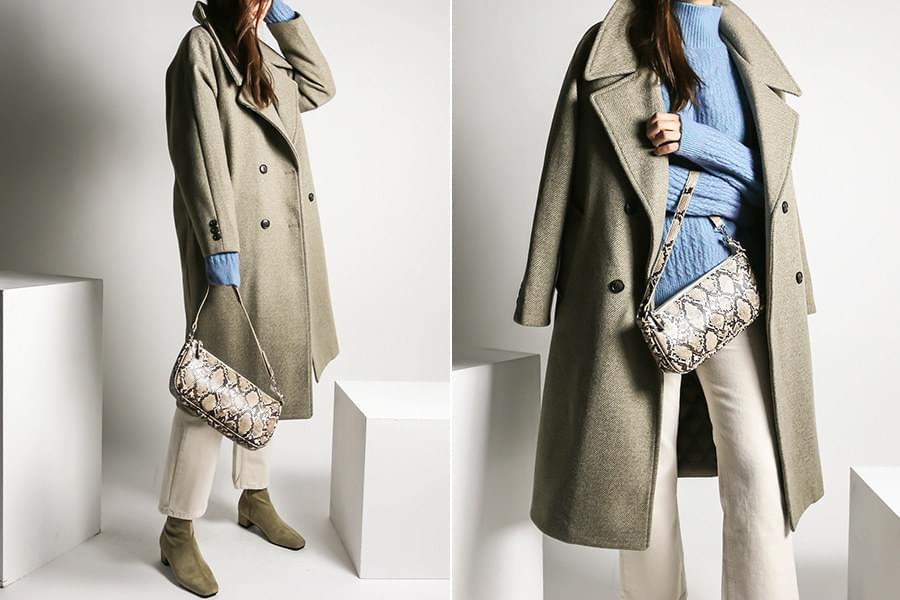 Twill wool overfit double long coat_ct03469