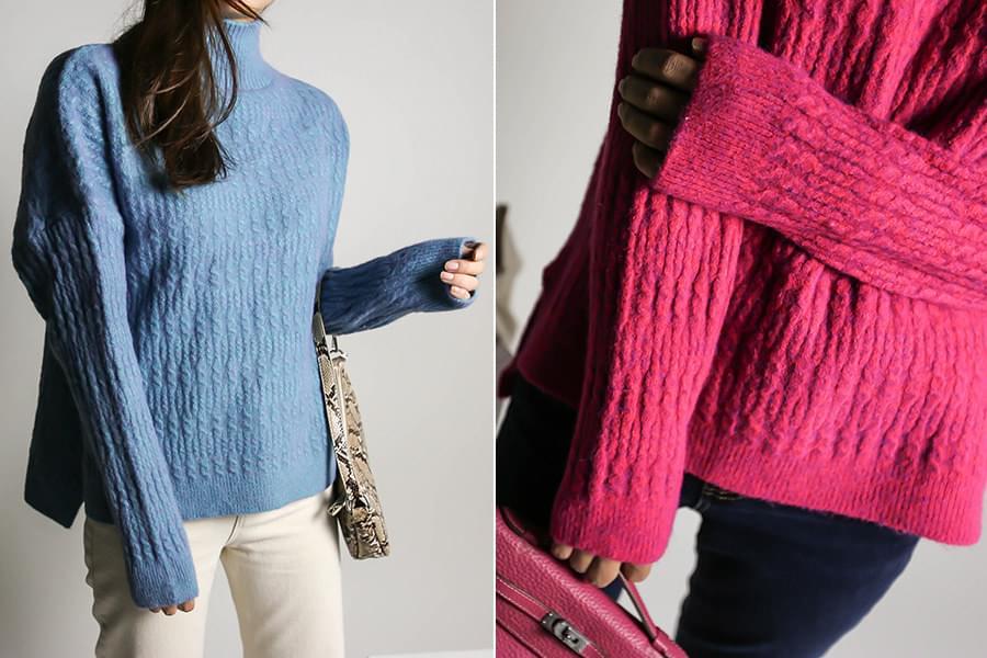 Exhaust pattern trim turtleneck knit _KN03469