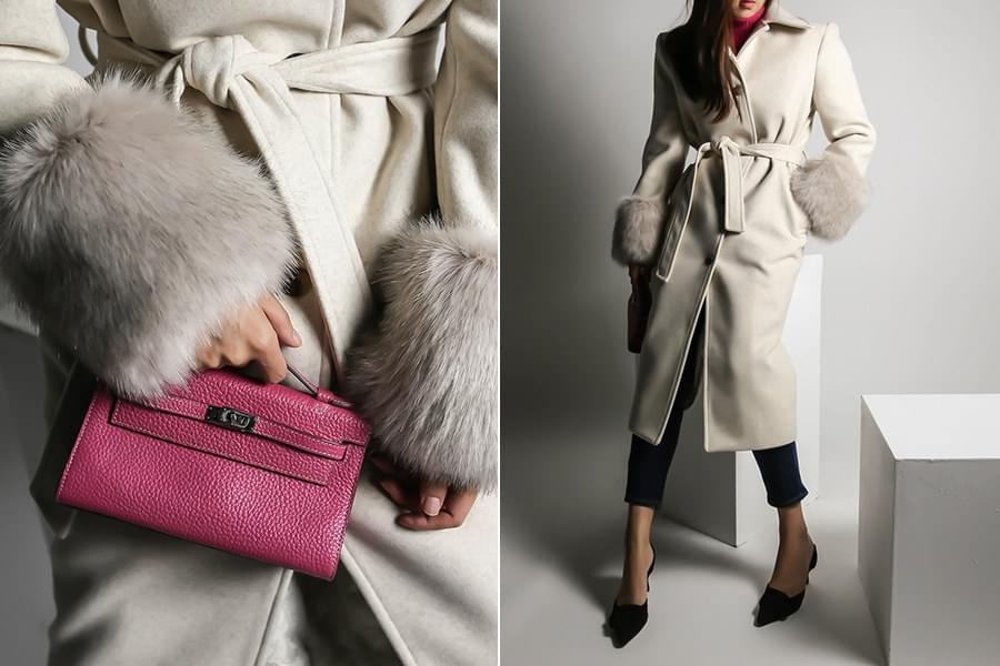 WOOL fur long coat _CT03468