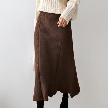 Ribbed knit long skirt