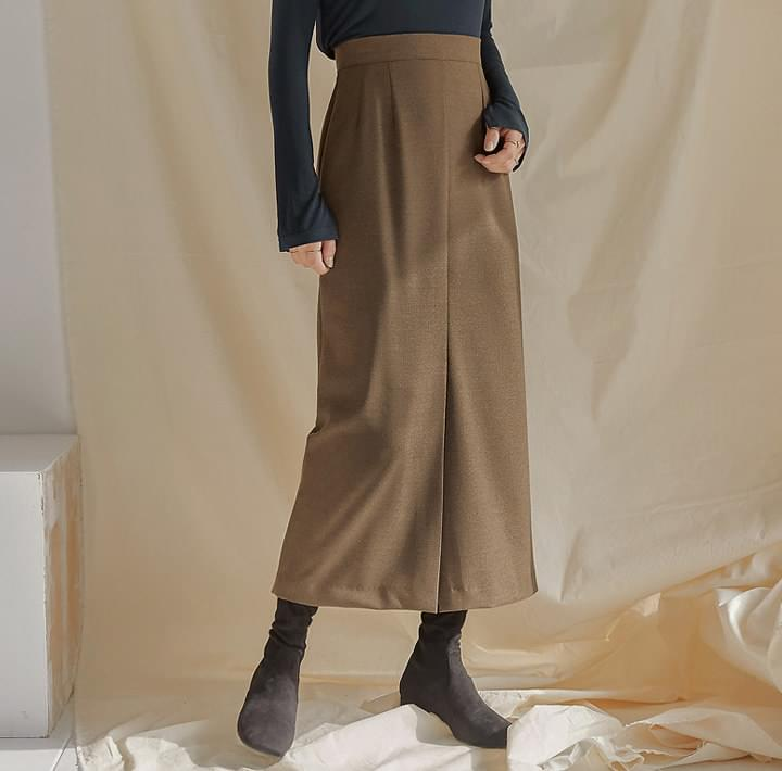 GARNET WOOL SLIT LONG SKIRT 裙子
