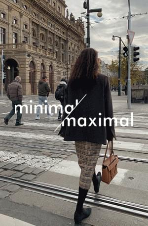 MMMM / Clash Check Slit Wool Skirt