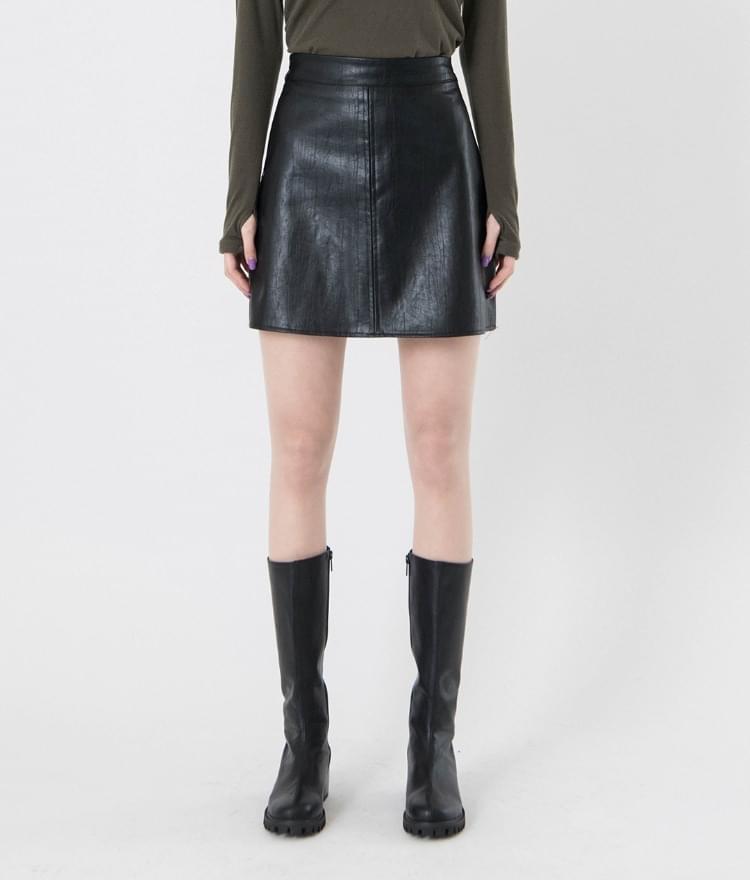 Brushed leather mini skirt