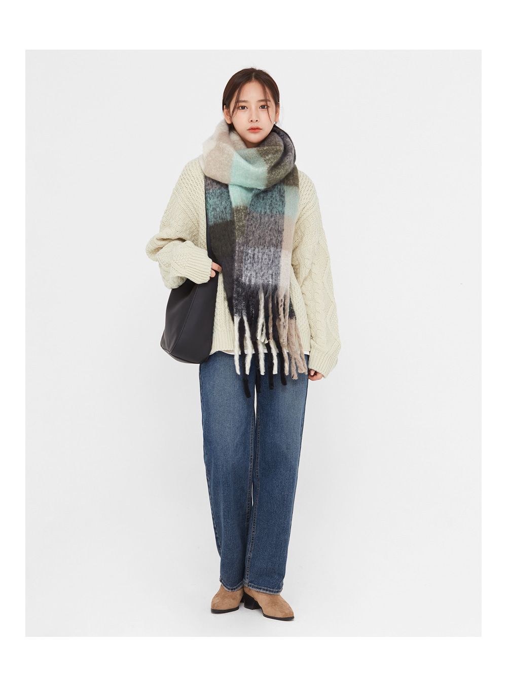 acne big check muffler