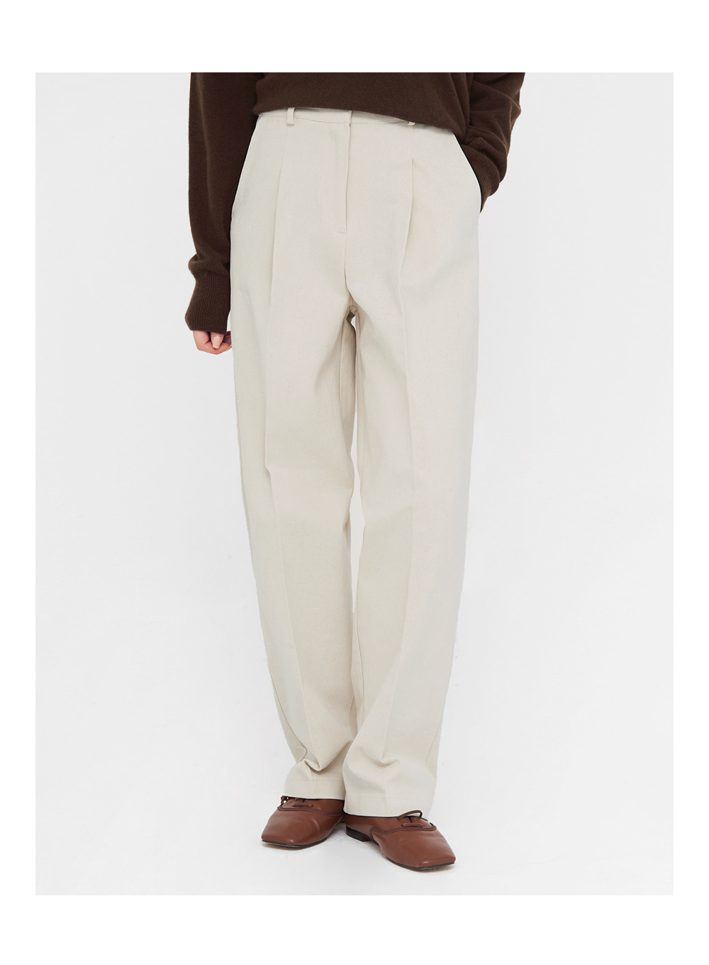 chino cotton straight pants (s, m)