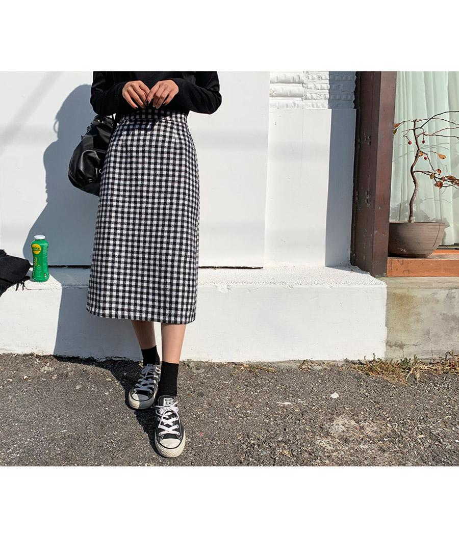 Celebrity mini check long skirt