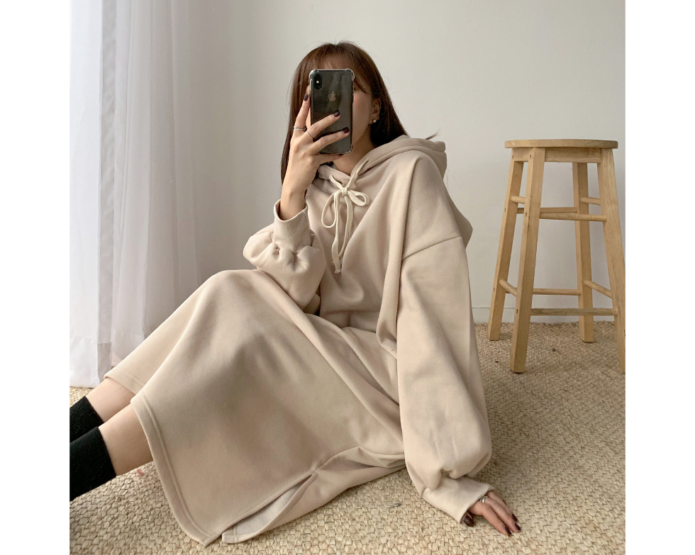 Delhi brushed hooded dress