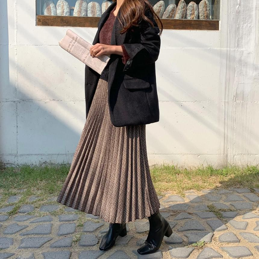 Polyna check pleated long skirt