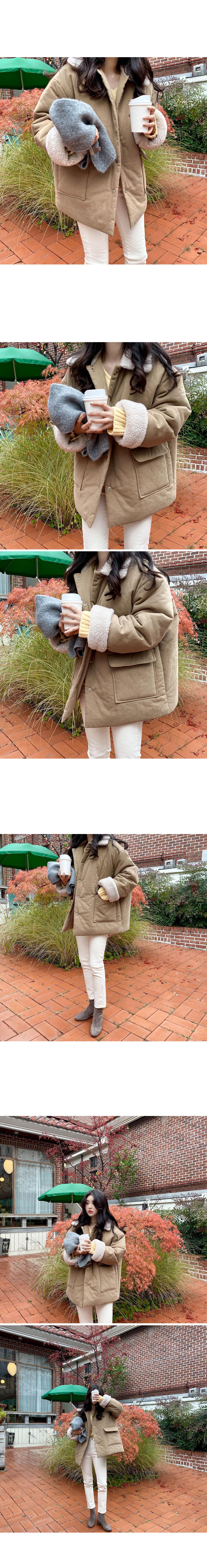 First fleece collar cotton short padding-beige