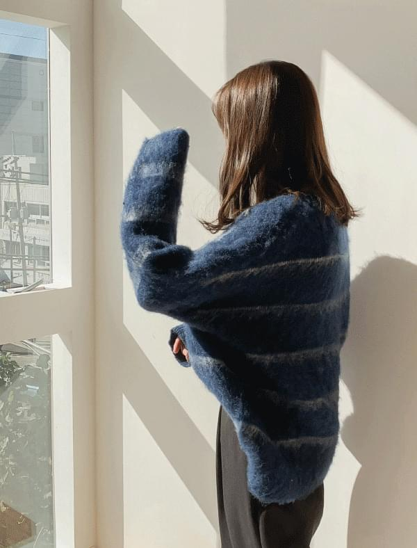 Stripe loose fit soft knit
