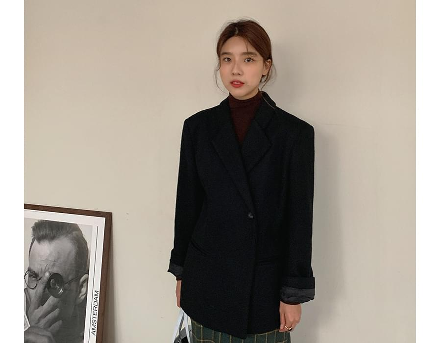 One button wool jacket_J (size : free)