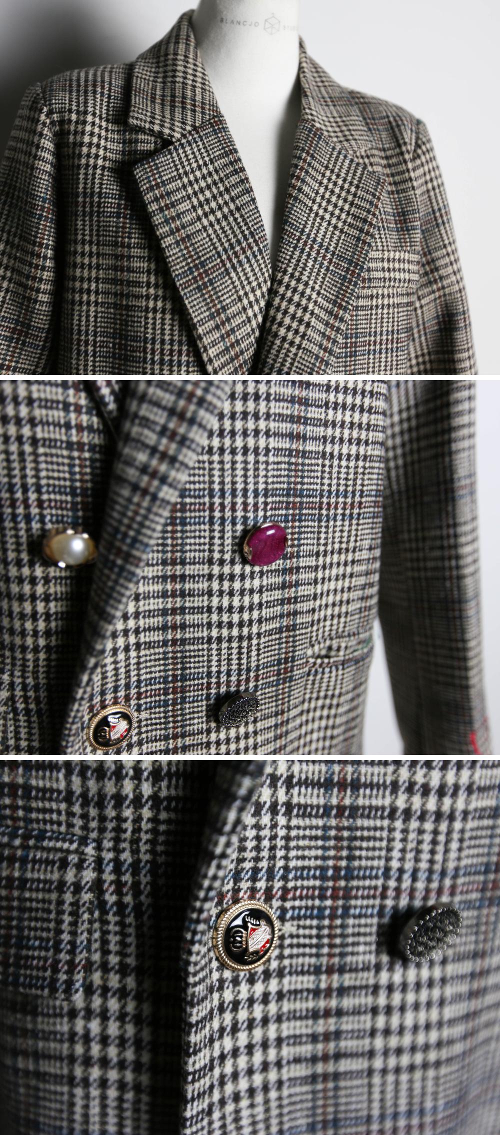 Glen retro embroidery blazer_jk03471