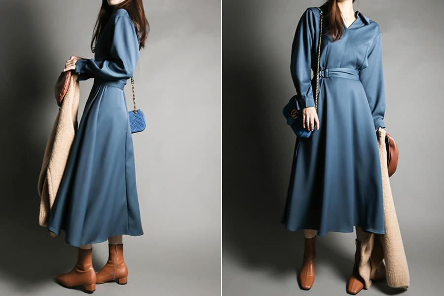 Shirt Collar Flare Belt Long Dress_op03471