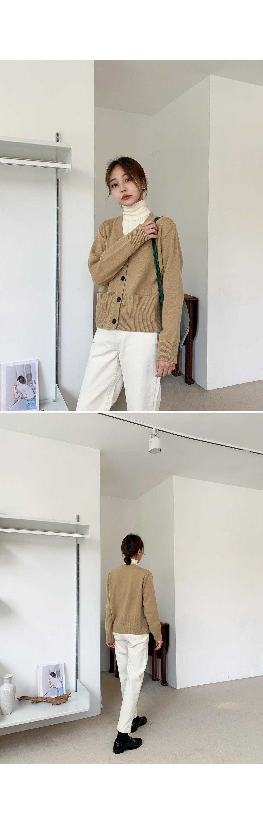 Lambswool pocket cardigan