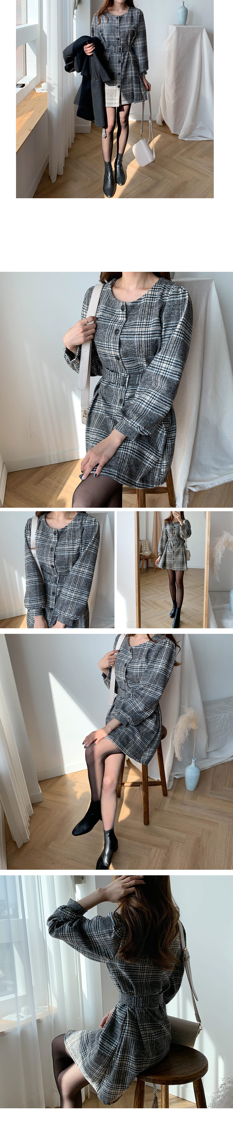 The Enry Check Pin Tuck Belt Dress