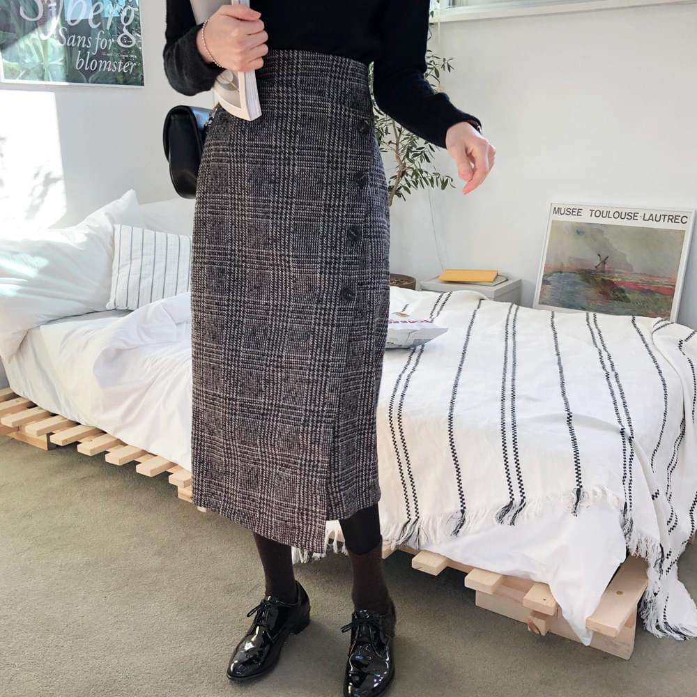 Check Wool Wrap Skirt