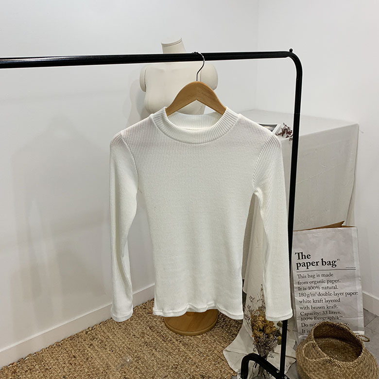 Reppy Ribbed Half Neck Long Sleeve T-Shirt