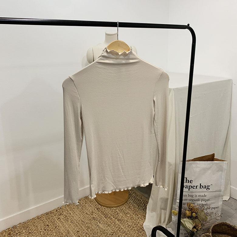 Mauve Wavy Ribbed High Neck Polar T-shirt
