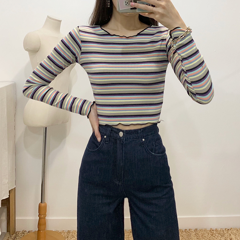 Unique striped slim ribbed T-shirt