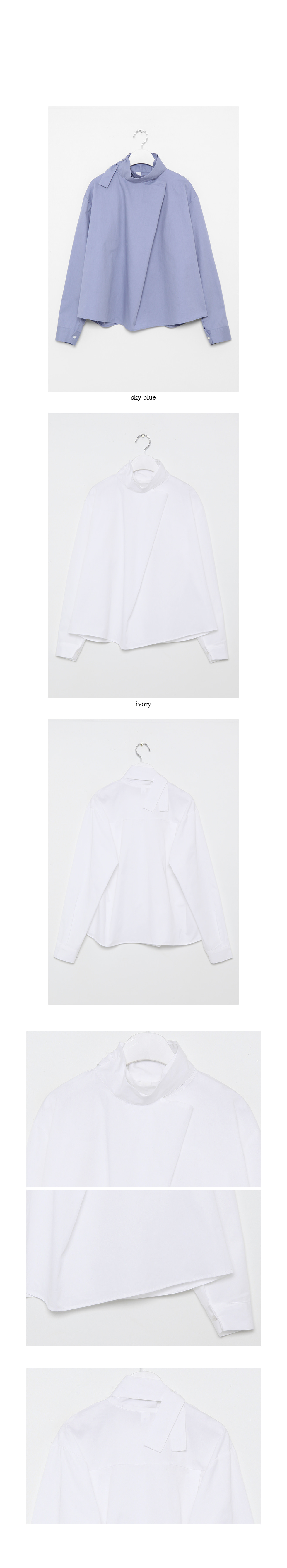 high neck french blouse