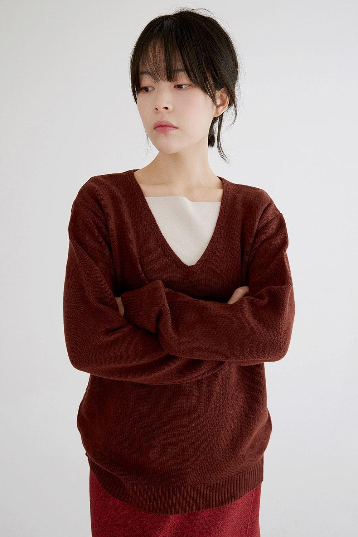 simple v neck knit (2colors)
