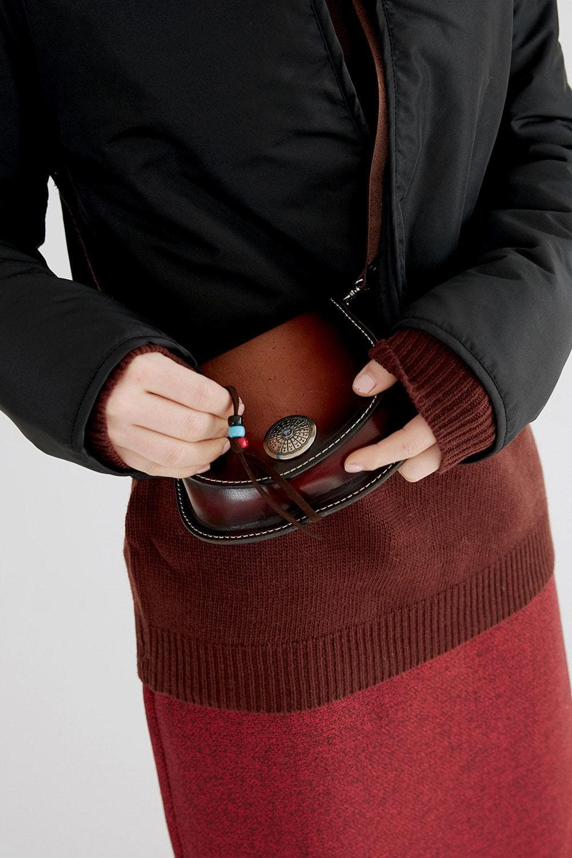 mini fringe leather bag (brown)