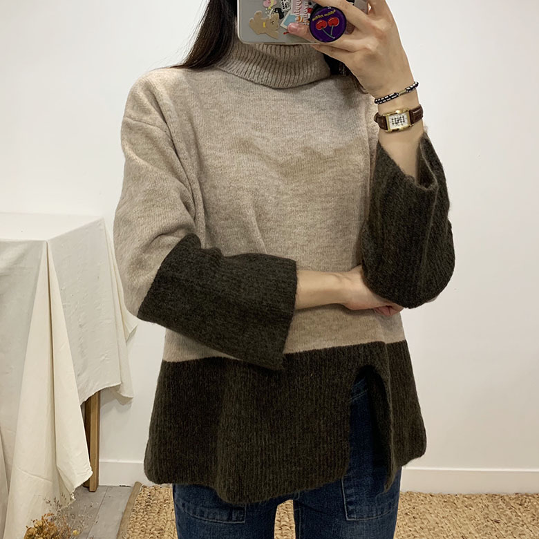 Anika wool trim color turtleneck knit