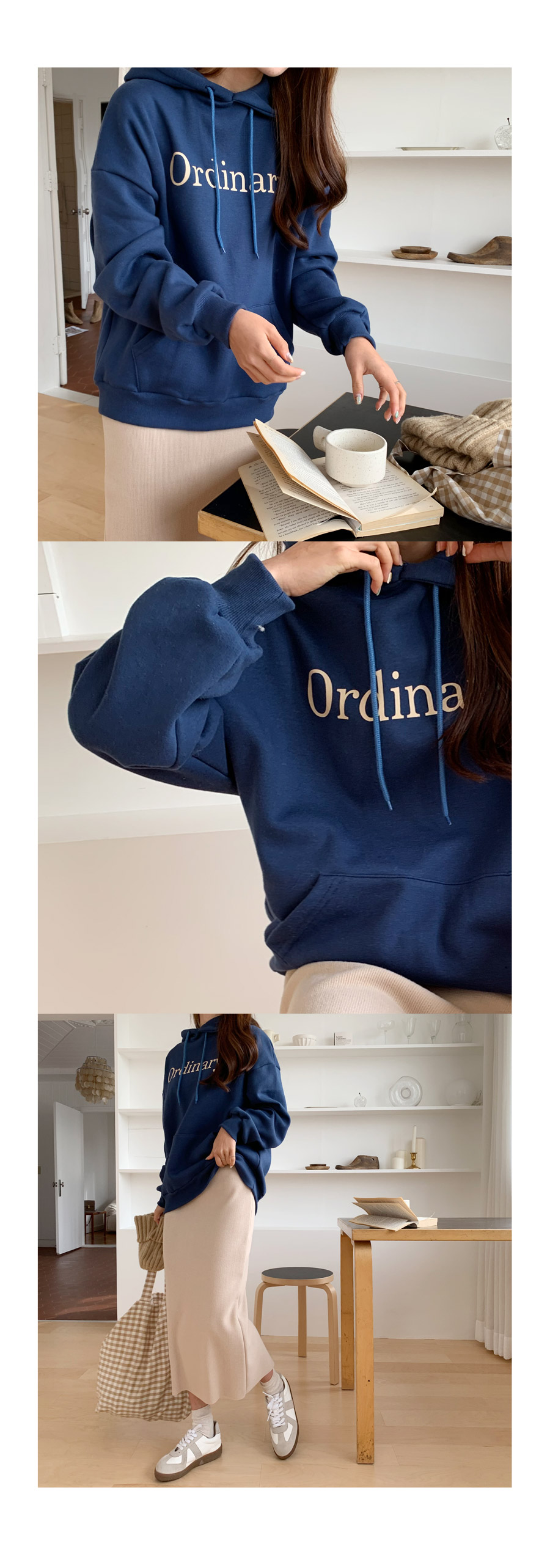 Ordinary brushed hooded man-to-man