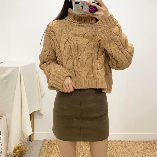 Bliss Pretzel Turtleneck Cropped Wool Knit