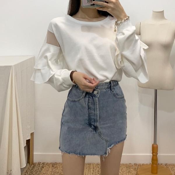 Jessie see-through ruffle T-shirt