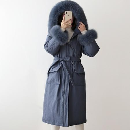 Detachable down feather long coat raccoon