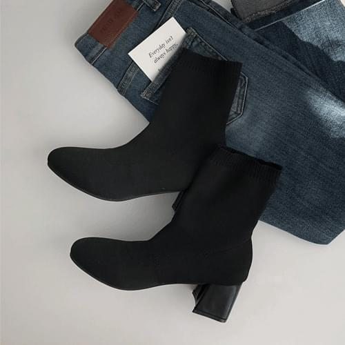收束坑條紋拼接粗跟襪靴