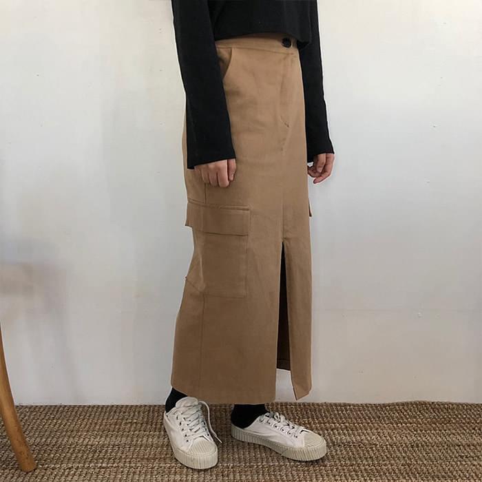 Cargo feeling front pocket long skirt