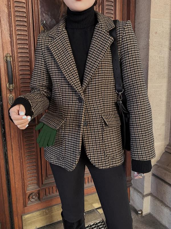 MMMM / tailoring check hunting wool jacket