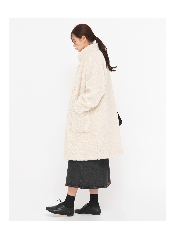 faux fur long duffle coat