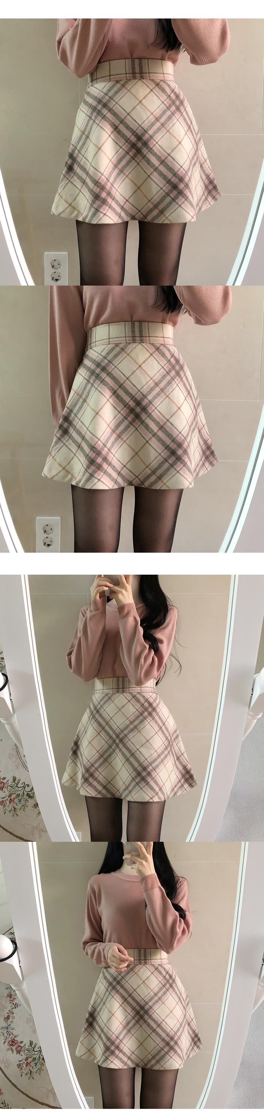 Latte Flare Check Skirt