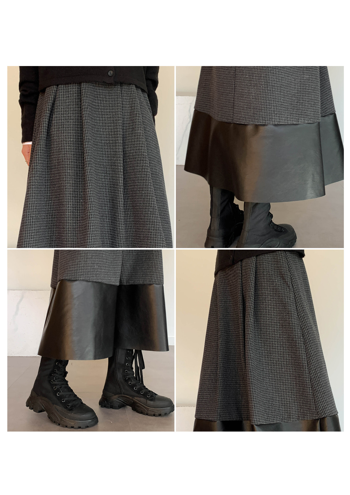 Wool Link Leather Long Skirt
