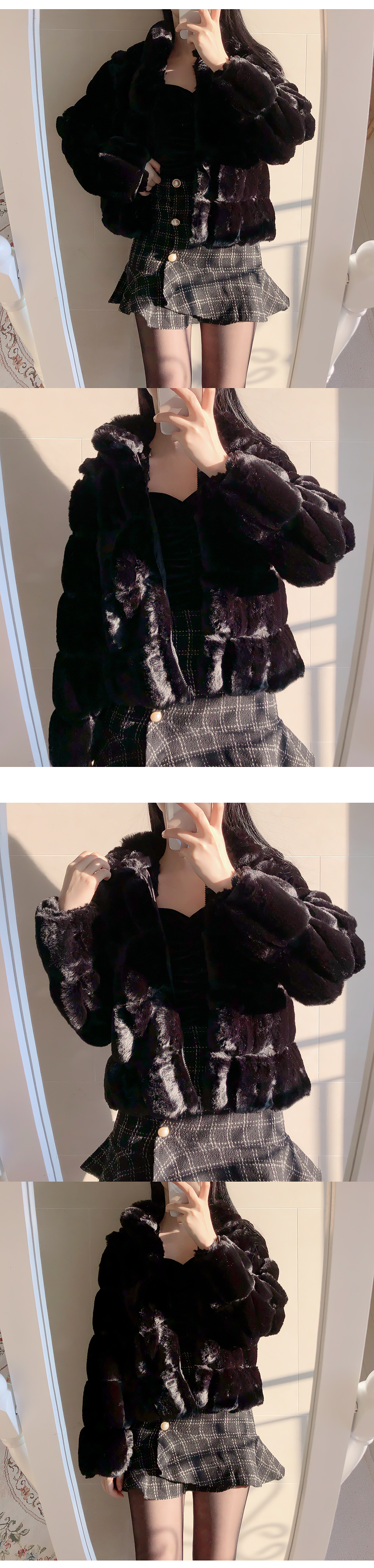Square mink jacket coat