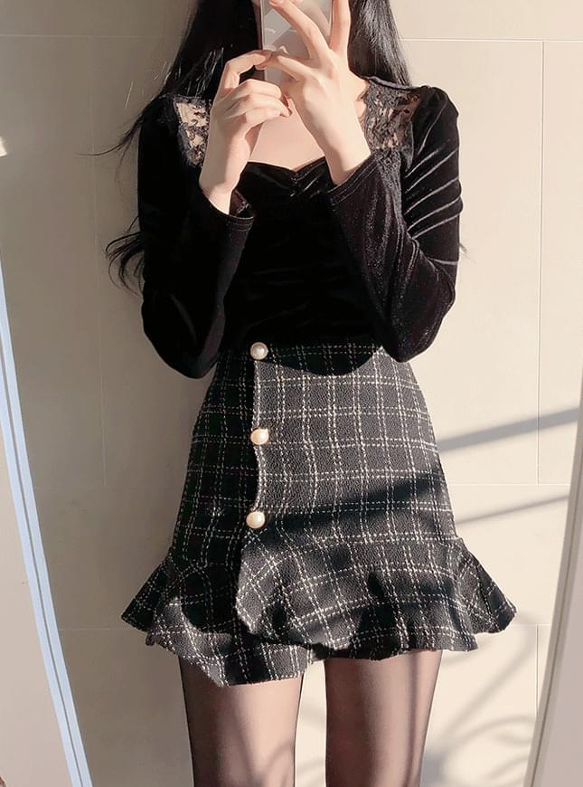 Bunny Pearl Tweed Unfooted Skirt