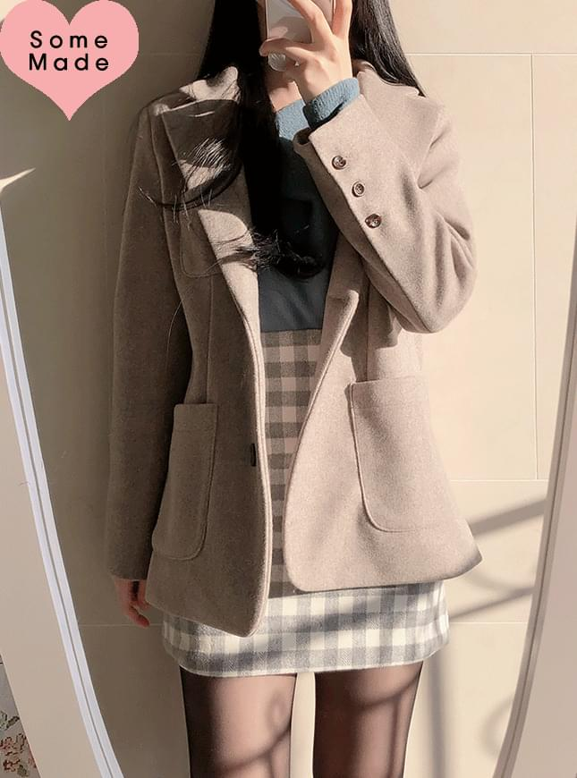 Self-made, same day shipping ♥ Tweed pocket collar jacket